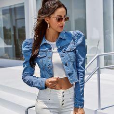 Denim Jacket Fashion, Cropped Denim Jacket, Denim Jackets, Cropped Jackets, Vintage Coat, Vintage Denim, Crop Top Blanc, Denim Jeans, Moda Casual