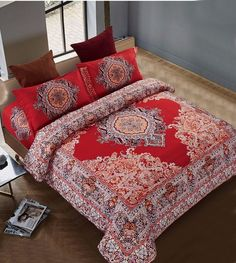 4pcs Chinese Wedding Red Tone Boho Style coverlet Double bed bohemian bedding sets