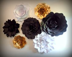 Extra Large Paper Flowers Gold Black & White Wedding by Itheedecor