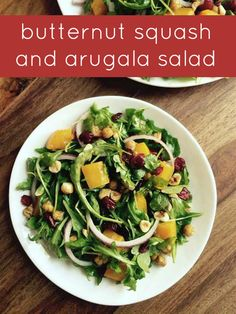 A perfect fall salad featuring butternut squash. #Thanksgiving Fall Salad, Dishes To Go, Green Bean Casserole, Arugula Salad, Thanksgiving Side Dishes, Butternut Squash, Fall Recipes, Green Beans, Vegetarian Recipes