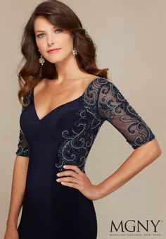 Evening Gowns and Mother of the Bride Dresses by Morilee. Beading on Jersey and Net Evening Gown