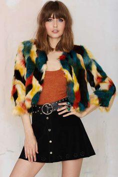Glamorous Calico Faux Fur Jacket