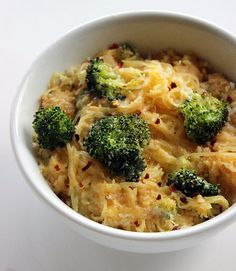 If you're looking to lighten things up the next time you dig into a comforting bowl of mac and cheese, opt for this twist on tradition that amps up the nutritional value as it cuts back on calories and carbs. Versatile and nutrient-rich spaghetti squash lays the base to this recipe, while broccoli adds more vitamin A. Calories: 296 Photo: Lizzie Fuhr