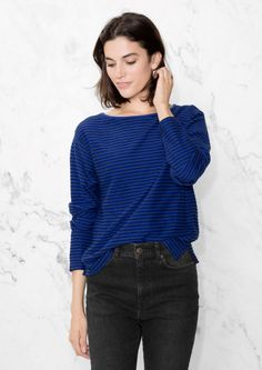 & Other Stories image 2 of Striped Jersey T-Shirt in Indigo