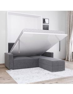At Expand Furniture we specialize in custom space saving furniture. our sectional wall bed couch provides the user with great seating and a hidden bed. Murphy Bed Desk, Murphy Bed Plans, Murphy Bed With Couch, King Murphy Bed, Expand Furniture, Space Saving Furniture, Modular Furniture, Furniture Design, Furniture Online