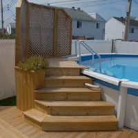 I like this, but maybe make the deck area a little bit larger Above Ground Pool Landscaping, Above Ground Pool Decks, In Ground Pools, Piscina Intex, Diy Pool, Pool Fun, Swimming Pool Decks, Casa Loft, Intex Pool