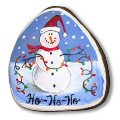 painted rocks images | One of my favorite snowmen. Traditional and cute.