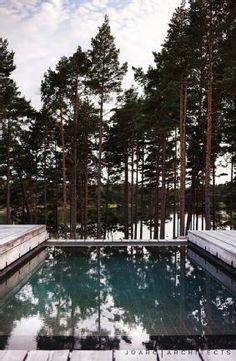Swimming pool of Villa Korsholmen by Joarc Architects Scandinavian Architecture, Architecture Design, Mountain Dream Homes, Atrium House, Outdoor Pool, Outdoor Decor, Interior Design Studio, Seaside, Swimming Pools