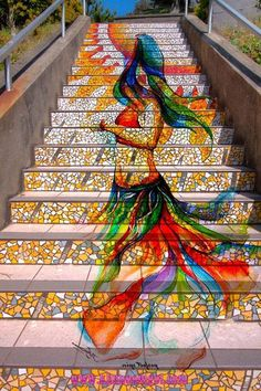 colorful painted stair <3