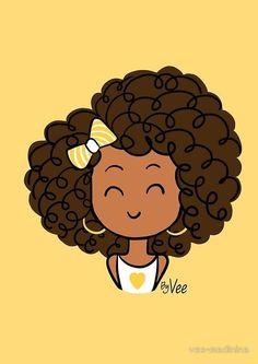 Little Curly Girl Cahier A Spirale En Afro Chulo - Available On Pillow Note Book T Shirt Tote Bag Sticker Pouch Art Black Love, Black Girl Art, Art Girl, Cartoon Drawings, Cartoon Art, Cute Drawings, African American Art, African Art, Mode Poster