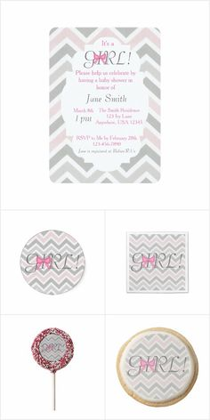 Bow Baby Shower Collection: This Bow collection will be great for your next baby shower!  This collection includes invitations, stamps, envelopes, stickers, napkins, paper plates, favor boxes, cookies and Oreo Pops!
