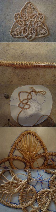 Кружевной мотив. Вязание крючком, почти игольное   Умелые ручки   Вязание крючком   Постила