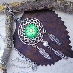 Dreamcatcher, Traumfänger, Mandala, grün, Anhänger mit Silber plattierter Kette…