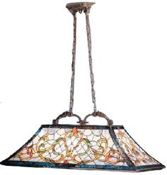 Kichler 65207 Tiffany Art Glass Creations 3 Light 36 Inch Kitchen Island Fixture in Tannery Bronze - KIC-65207