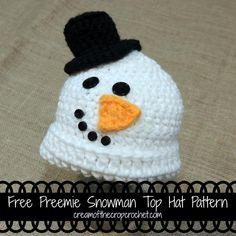 Preemie Snowman Top Hat Pattern