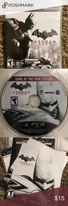 PS3 BATMAN ARKHAM CITY VIDEO GAME Become the Dark Knight & experience advanced gameplay-super-villain encounters & glimpses into Batman's tortured psychology Play as Catwoman w/her own storyline in the main game which woven into Batman's story. Includes char from the Batman universe; Catwoman,Two-Face,Harley Quinn,Penguin,Hugo Strange,Victor Zsasz,Calendar Man,The Joker,The Riddler and others. *See pics for details and feel free to ask any questions. Owned and played a couple of times by an…