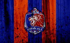 Download wallpapers 4k, FC Port, grunge, Thai League 1, soccer, art, football club, Thailand, Port, logo, stone texture, Port FC