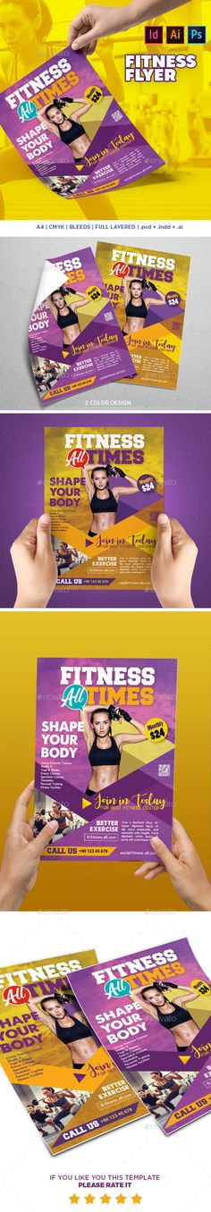 Fitness Flyer by graphicersan Fitness Flyer Fully layered Layered INDD & PSD & AI 3mm Bleed, 300 Dpi, CMYK IDML format open Indesign CS4 Or Later Completely