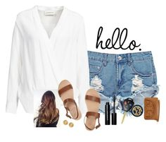 """When I see you I get this feeling I can't describe "" by madelyn-abigail ❤ liked on Polyvore featuring Boohoo, By Malene Birger, Ancient Greek Sandals, Hartford, Bobbi Brown Cosmetics, Tory Burch and Versace"