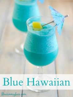 Tropical Frozen Blue Hawaiian Cocktail via @FlourOnMyFace