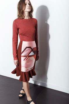 Ostwald Helgason | Resort 2015 | 08 Red long sleeve sweater and red/pink graphic print ruffled midi skirt