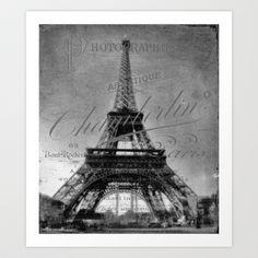 Vintage Eiffel Tower Art Print by Karen Lindale - $22.88