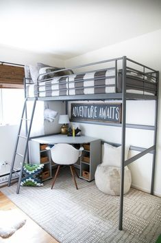 Bunk beds design and room ideas. Most amazing bunk beds for kids. Designing bunk beds that you might like. Bunk Beds For Boys Room, Bunk Bed Rooms, Bunk Beds With Stairs, Kid Beds, Loft Beds For Small Rooms, Bunk Bed With Desk, Small Boys Bedrooms, Loft Beds Kids, Loft Bed Ikea