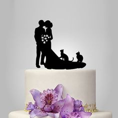 family Wedding Cake Topper birde and groom silhouette with two cats, pets Cake Topper, couple,  funny topper, kissing couple topper