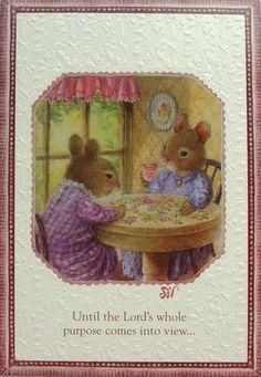 Susan Wheeler Holly Pond Hill Mouse Mice Tea Table Encouragement Greeting Card | eBay