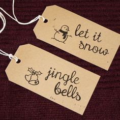 Christmas Songs Hand Printed Linocut Gift Tags, pack of 4