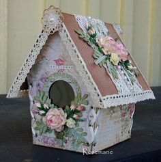 461~painted, lace trimmed, floral covered birdhouse Diy Arts And Crafts, Wood Crafts, Paper Crafts, Diy Crafts, Birdhouse Craft, Birdhouse Designs, Shabby Chic Crafts, Vintage Crafts, Shabby Chic Birdhouse