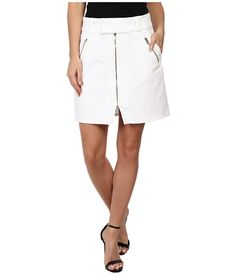 7 For All Mankind Womens A-Line Skirt w/ Exposed Zips in White Fashion White Fashion - Skirts