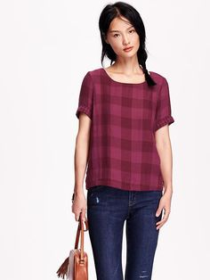 Relaxed Plaid Top - my favorite shirt in the world! So glad I bought it. Very flattering and comfortable