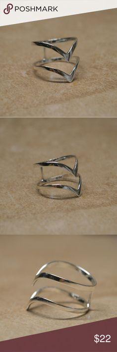 Brand New Sterling Silver Double Chevron Ring Gorgeous piece! Stamped 925.   Minimalist ring, great to wear as a midi or knuckle ring or more traditionally.   Comes adorably packaged. Great for a gift or a treat for yourself!  This item is boutique branded and comes packaged as a boutique item. Not Silpada.    Tags minimalist bar pave cross gem diamond simple twist ring bar line geometric stacking multiple chevrons rings Silpada Jewelry Rings