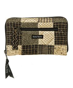 $12.99 Take a look at this Khaki & Crème Plaids Kettle Grove Wristlet by Bella Taylor Handbags on #zulily today!