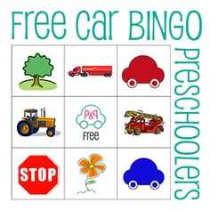 Really cute free bingo game for preschoolers or toddlers on road trips! The pin links to a pdf with 5 cards in it. To make it really fun, remember to bring prizes! :)