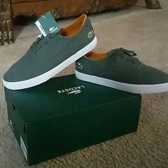 Mens Lacoste Sneakers New.. New. New..!!!!  OLIVE GREEN Lacoste Shoes Sneakers