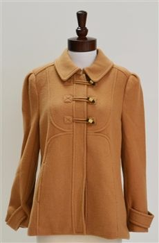 Juicy Couture  Brushed Wool Twill Tweed Toggle Coat Jacket