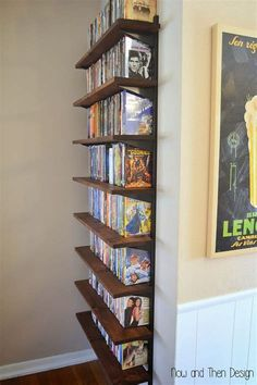 the Best Ideas for Diy Cd Storage . Creative Diy Cd and Dvd Storage Ideas or solutions Hative Dvd Storage Cabinet, Diy Dvd Storage, Movie Storage, Storage Ideas, Diy Dvd Shelves, Storage For Books, Wall Shelves, Dvd Bookcase, Dvd Storage Solutions
