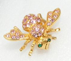SOLD Joan Rivers Pink Rhinestone Crystal Bug Pin Brooch Insect Figural Costume Signed | eBay