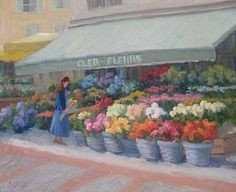 Flower Market Painting - Parisian Flower Market by Bunny Oliver
