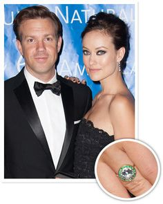 Olivia Wilde's round diamond surrounded by an emerald halo