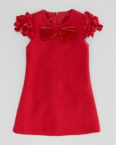 David Charles Boiled Wool Bow Dress, Red, Sizes 2-10Y on shopstyle.com
