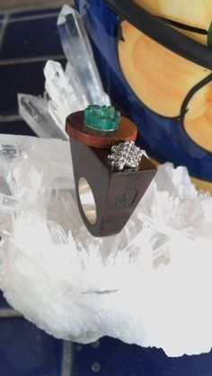 925 Silver Wood  7.0ct twt Colombian Emeralds  by SulaneverydayArt