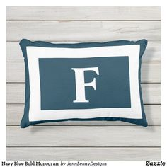 Navy Blue Bold Monogram Outdoor Pillow Outdoor Throw Pillows, Bed Pillows, Monogram Initials, Artwork Design, Favorite Color, Navy Blue, Plush, Gender, Age