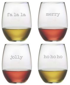 Sure to bring a smile, these stemless tumblers are great for entertaining this holiday season.