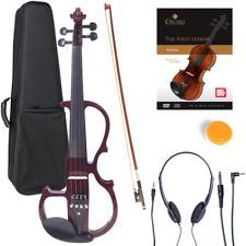 Cecilio Size Electric Silent Solidwood Violin w/ Ebony Fittings in Metallic Blue Electric Violin, Bow Accessories, Yellow Fashion, White Style, Yellow Style, Musical Instruments, Leather, Black, Metallic