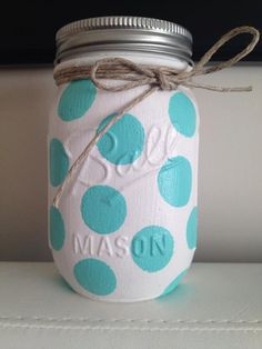 Polka Dot Colored Mason Jars Home Decor Nursery Decor by Basix