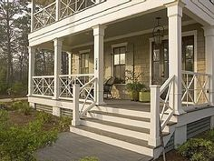 porch railing -- X motif -- hookedonhouses.net