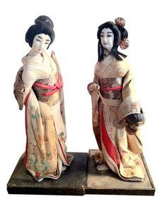 Pair of 1930s Geisha Dolls on Wooden Stands | Japanese Geisha Dolls